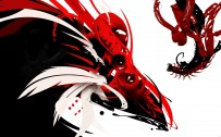 black white and red wallpaper